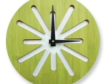 10in Green Splat Bamboo Wall Clock