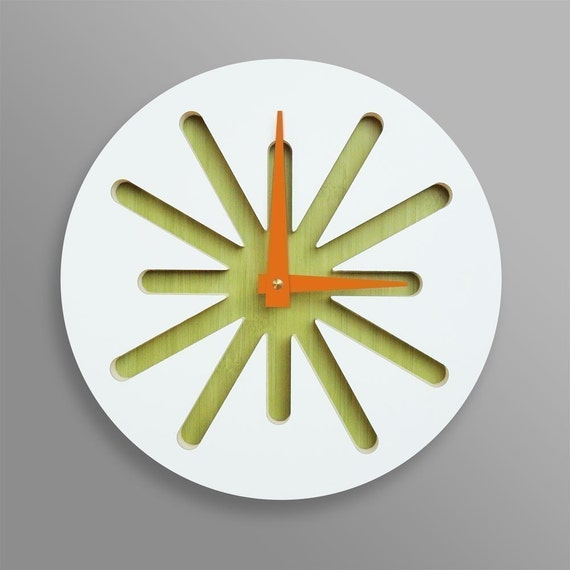 White Splat On Green Bamboo Modern Wall Clock By Pilotdesign