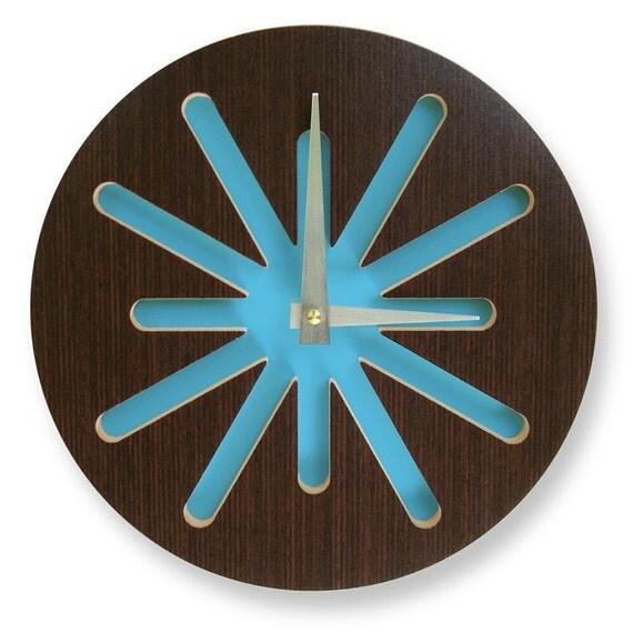 10in Kona Splat on Blue Modern Wall Clock