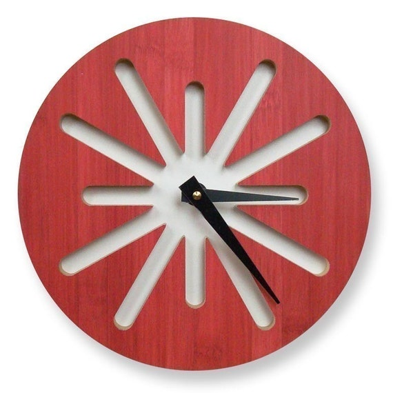 Reserved - Red Splat Bamboo Modern Wall Clock