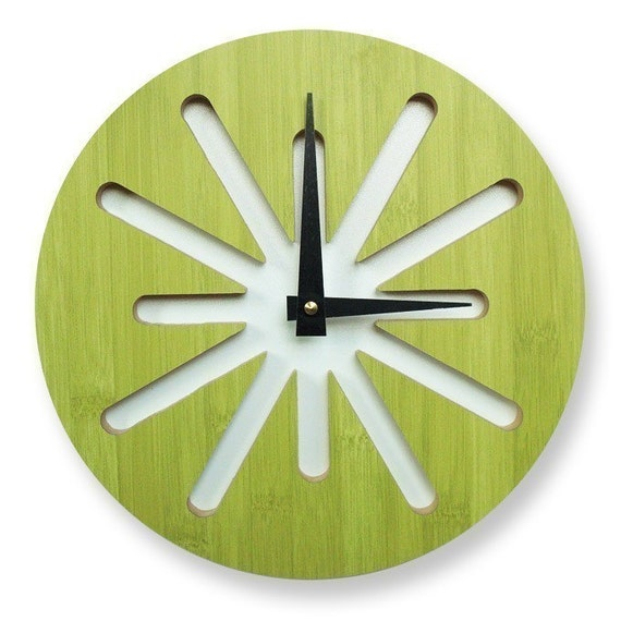 10in Green Splat Bamboo Wall Clock
