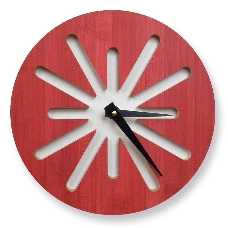 Red Splat Bamboo Modern Wall Clock