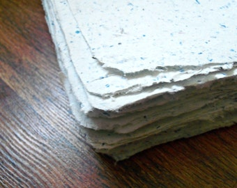 Blue flecked, handmade paper, eco friendly paper, recycled paper, hand paper making, homemade paper, decorative paper