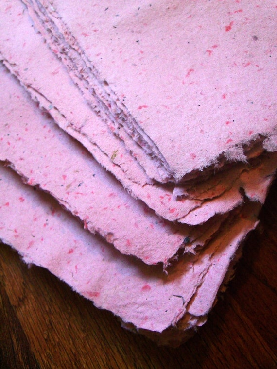 "10 sheets 8.5x11 inch handmade paper recycled paper eco friendly paper pink ""peppermint ice cream"" peppermint colored paper(letter size)"