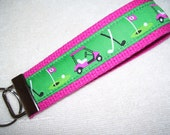 Key Fob Wrist Key Chain Preppy Golf Carts and Clubs