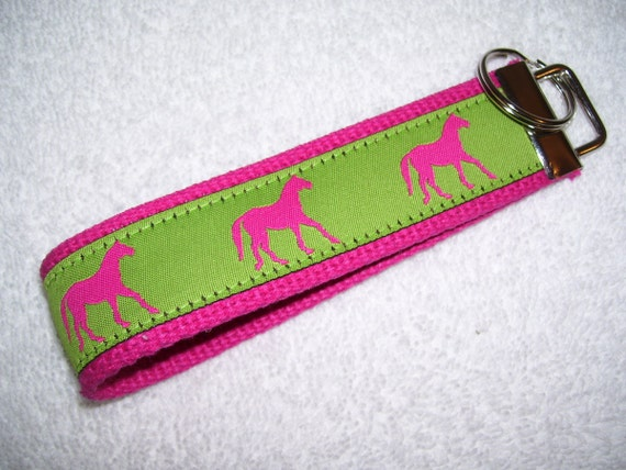 Key Fob Wrist Key Chain Preppy Pink and Green Horses on Hot Pink