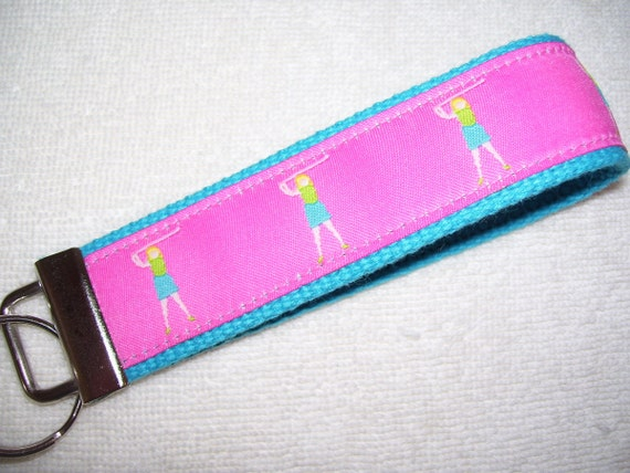 Key Fob Wrist Key Chain Preppy Golfers on Candy Pink