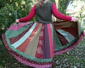 Gypsy Green and Red Patchwork Skirt