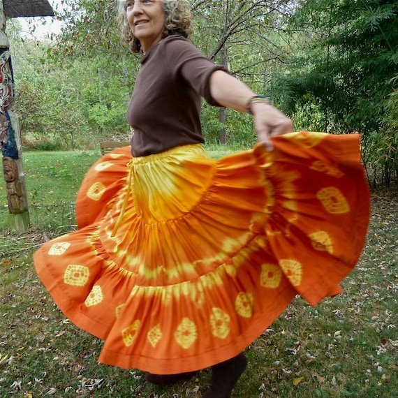 Firey Bohemian Full Circle Silk Skirt, Handmade and Dyed, with Shibori