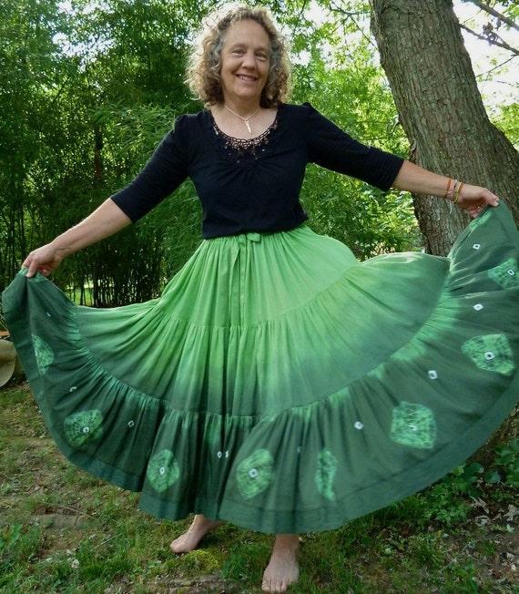 Sale: Gypsy Long Skirt, Full Circle, Handmade and Dyed, with Shibori