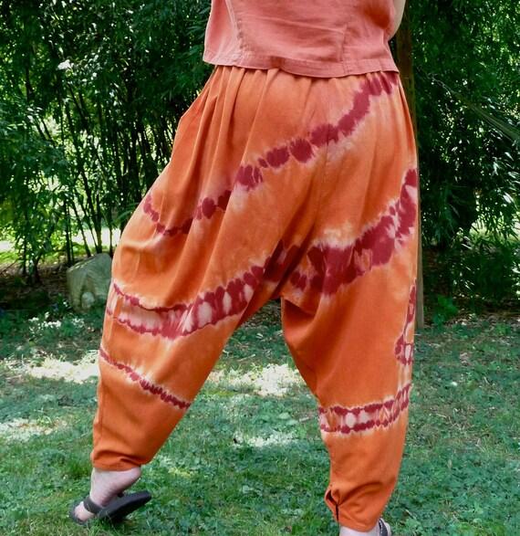 Holiday Sale: Orange and Wine Unisex Harem Pants in Raw Silk