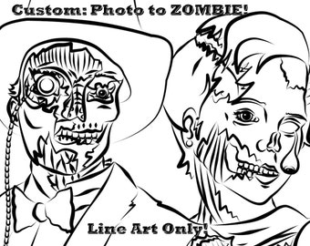 Custom - Photo to Zombies Digital Line Drawing. 8x10 300 dpi Coloring Page