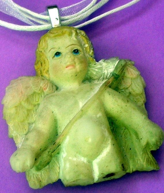 Sweet Broken Angel Pendant or mixed media art  shadowbox