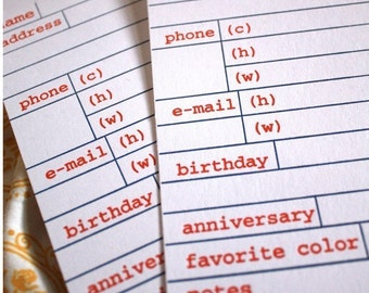 Letterpress Address Cards 25 set addition