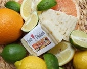 FLORIDA SUNSHINE Essential Oils 6 OZ Large Handmade Soap Bar  Lemon Lime Orange Peels