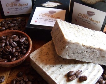 COFFEE BEANS with Coffee Butter and Fresh Ground Coffee Beans Large Handmade Soap Bar