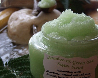 SHEA BUTTER SUGAR Scrub Large 8 oz Tub with Avocado / Sweet Almond Oil You Choose Your Own Scent