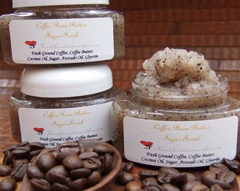 COFFEE BEAN BUTTER Sugar Scrub with Fresh Ground Coffee Beans & Coffee Butter