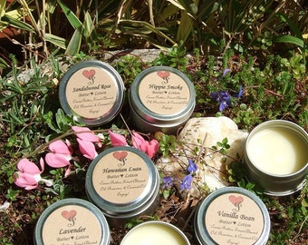 BEESWAX  BUTTER LOTION / Solid Perfume  with Cocoa Butter Sweet Almond and Coconut Oils