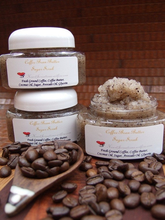 COFFEE BEAN BUTTER Sugar Scrub with Fresh Ground Coffee Beans & Coffee Butter