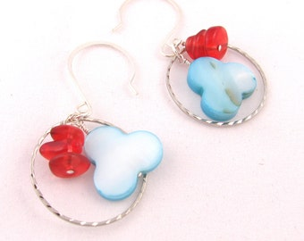 MOP Clover and Silver Ring Dangle Earrings