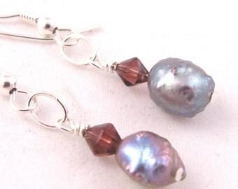 Irregular Purple Pearl Earrings