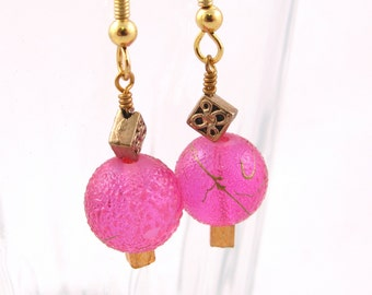 SALE***Textured Pink and Gold Earrings