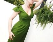 Forest Green satin dress with special handmade shoulder detail bridesmaids dress green dress green cocktail dress green evening dress