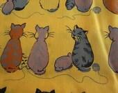 Hand Printed Fabric - Cheeky Cats Pumpkin Pie - Half Yard