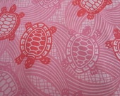 Reserved for cbricker89 - Pretty Pink Turtles - Hand printed cotton fabric - Last piece
