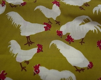 Hand Printed cotton fabric -  Olive Chickens