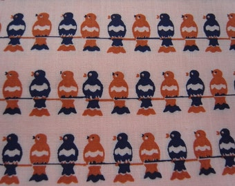 SALE Last Piece - Hand printed limited cotton fabric - Birds on a wire