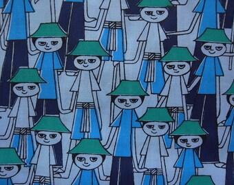 Half Yard - Happy Kids in Hats - hand printed cotton fabric