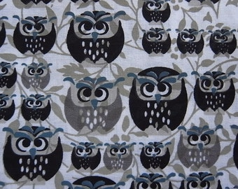 Owls in the Forest -  hand printed cotton fabric - half yard