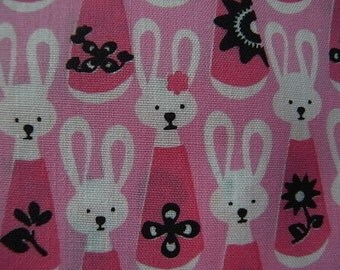 Last piece - Hand Printed Cute Bunny Rabbit Cotton Fabric Pink