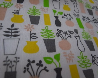 Half Yard - SpringFlower Vases - Hand-printed cotton fabric