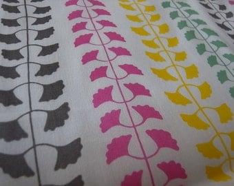 Half Yard - summer ginkgo vines - Hand-printed cotton fabric