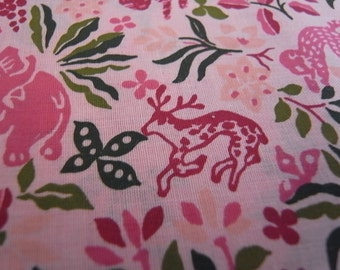 Pink Jungle - HAND PRINTED fabric - limited edition - Half Yard
