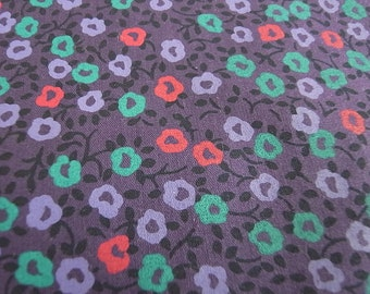 Half Yard - Purple Flower Garden - Hand-printed cotton fabric