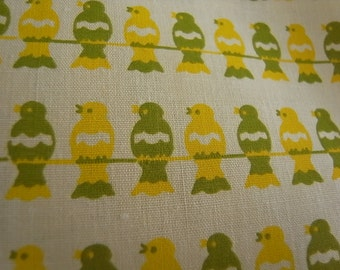 Lime & Lemon Birds On a Wire - hand printed cotton fabric - Half yard