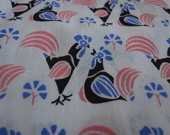 Smitten Chickens Pink & Blue - Half Yard - hand printed cotton fabric
