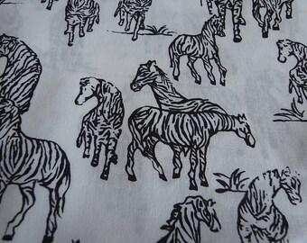 B&W Zebras - Half yad - hand printed fabric