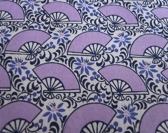 Dancing Fans Lovely Lilac - Half Yard - Hand Printed Fabric