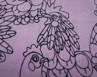Half Yard - Hand Printed Cotton Fabric-  Rose Chicken Doodles