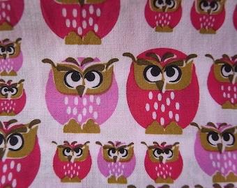 Strawberry Owls hand printed cotton fabric - half yard
