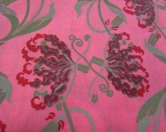 Half Yard - Fantasy Pink Flowers - hand printed fabric RARE
