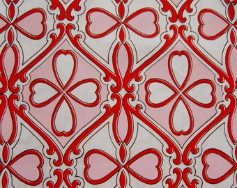 Heart Nouveau limited edition hand screen printed fabric Valentine