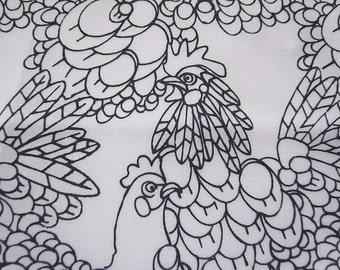 Half Yard - Hand Printed Cotton Fabric - B&W Chicken doodles