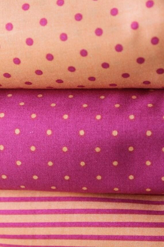 Raspberry Tangerine Polka Dots Cotton Fabric - Half yard set