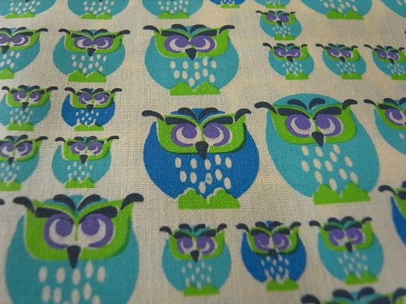 Blue Mint Owls hand printed cotton fabric - half yard